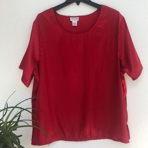 💜CW Classics Women's Satin Shell Blouse Top Red 2X